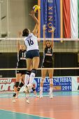 DEBRECEN, HUNGARY - JULY 9: Unidnetified players in action at a CEV European League woman's volleyba