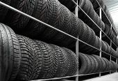 Rack with variety of car tires in automobile store poster