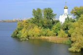 stock photo of dnepropetrovsk  - Island with cloister in the middle of the river Dnepr in Dnepropetrovsk - JPG