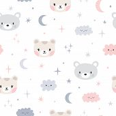 Background For Cute Little Girls. Hand Drawn Seamless Pattern For Children With Funny Animals. Doodl poster