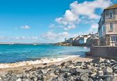 picture of st ives  - Rocaky bay at St Ives in Cornwall UK - JPG