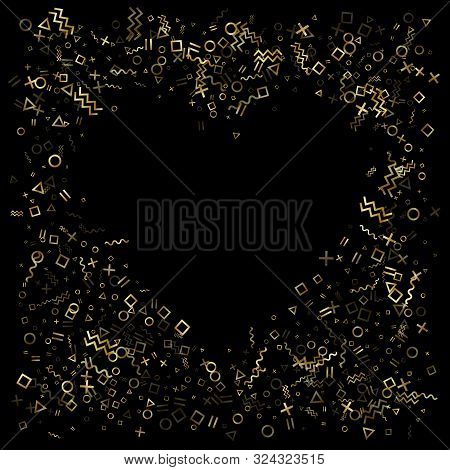poster of Gold Geometric Confetti Vector Memphis Style Background With Triangle, Circle, Square Shapes, Zigzag