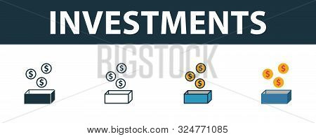poster of Investments Icon Set. Premium Symbol In Different Styles From Startup Icons Collection. Creative Inv