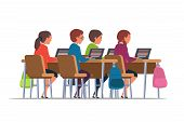 Pupils At School Flat Illustration. Students At Lesson In Classroom Clipart. poster