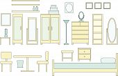 picture of armoire  - a vector illustration of a collection of bedroom furniture - JPG