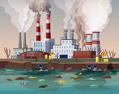 Power Plant Air Smoke Pollution Or Industry Factory Water Disaster. Building With Chimney And Smog,  poster