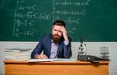 Decreased Energy Level. Tired Teacher In Class. Bearded Man Suffer From Headache. Being Tired Of Wor poster