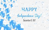Finland Independence Day Greeting Card. Flying Balloons In Finland National Colors. Happy Independen poster