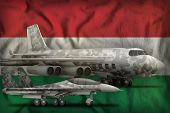 Air Forces With Grey Camouflage On The Hungary Flag Background. Hungary Air Forces Concept. 3d Illus poster