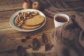 Autumnal Mood. Sweet Cookies And Apples. Drinking Hot Tea In Cold Autumn Days. Cold Weekend At Home. poster
