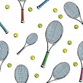 Tennis Background. Seamless Pattern Of Hand-drawn Colored Sketch Style Tennis Racquet With Yellow Te poster