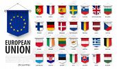 European Union Flags And Membership . 3d Realistic Pennant Hanging Design . White Isolated Backgroun poster