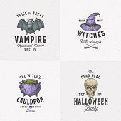 Vintage Style Halloween Logos Or Labels Template Set. Hand Drawn Vampire Bat, Scull, Witch Hat And C poster