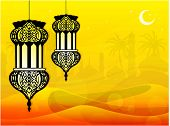 Intricate arabic lamps on desert with moon and stars on seamless mosque background. EPS 10. Vector i
