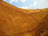 picture of loamy  - clay hill scenery after erosion and excavation - JPG