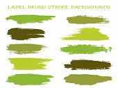 Retro Label Brush Stroke Backgrounds, Paint Or Ink Smudges Vector For Tags And Stamps Design. Painte poster