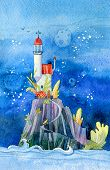 Fantastic Lighthouse. Fairytale Tower, Illustration For The Children, Print, Holiday Card. poster