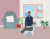 Young Afro Man With Cute Dog Mascot In Livingroom Vector Illustration Design poster