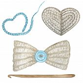 Close Up Crochet Gray Heart, Bow With Light Blue Button, Hook Hand Made Concept. Watercolor Hand Dra poster