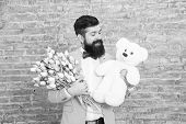 Romantic Man With Flowers And Teddy Bear. Romantic Gift. Macho Getting Ready Romantic Date. Man Wear poster