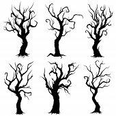 Illustration Fantasy Bold Bare Decorative Trees Silhouettes poster