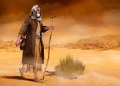 Biblical Moses Walks Through The Sinai Desert, The Wilderness, In Search Of The Promised Land, 3d Re poster