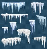 Realistic Snow Icicles. Icicle Ice With Snowcap On Top. Winter Snowing Borders For Christmas Cards D poster