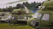 Old Helicopter. Group Of Helicopters In The Open Air. poster
