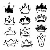 Black Crown Icon Set On White Background. Cute Crown Handdrawn Vector Illustration. Social Media Ove poster