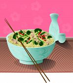 stock photo of chinese food  - A bowl of delicious noodles with vegetables and sake beside it - JPG