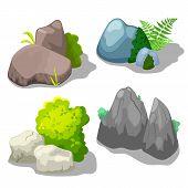 Stone And Shrub Vector Clipart For Summer Landscape On White Background. Park Or Garden Landscape Cr poster