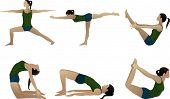 picture of virabhadrasana  - Yoga series 3 six yoga poses on white - JPG