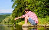 Mature Bearded Man With Fish On Rod. Big Game Fishing. Relax On Nature. Fly Fish Hobby. Summer Activ poster