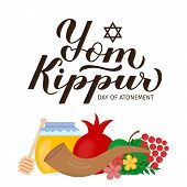 Yom Kippur Day Of Atonement Calligraphy Hand Lettering With Traditional Jewish Symbols. Israel Holid poster