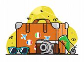 World Tourism Day Illustration, Cute Tourism Pack Vector, Flat, Tshirt Illustration poster