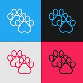 Color Line Paw Print Icon Isolated On Color Background. Dog Or Cat Paw Print. Animal Track. Vintage  poster