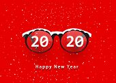 Glasses And 2020. Happy New Year 2020. 2020 On Glasses poster