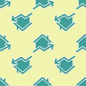 Green Rising Cost Of Housing Icon Isolated Seamless Pattern On Yellow Background. Rising Price Of Re poster