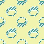 Green Cloud With Rain And Lightning Icon Isolated Seamless Pattern On Yellow Background. Rain Cloud  poster