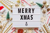 Christmas Composition. Phrase Merry Xmas On Lightbox And Toys On White Background. Greeting Card, Wi poster