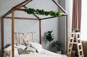 Cosy Bedroom With Eco Decor. Wood And Nature Concept In Interior Of Room. Scandinavian Interior, Rea poster