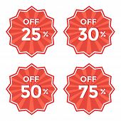 Set Of Round Red Label. 25, 30, 50, 75 Off Discount Price Sticker Vector Illustration poster