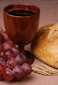 picture of communion-cup  - Communion elements of grapes cup bread and wheat - JPG