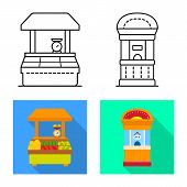 Vector Design Of Amusement And Store Icon. Set Of Amusement And Urban Stock Vector Illustration. poster