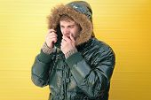 He Has Got Cold And Flu. Casual Fashion Coat For Cold Winter Conditions. Handsome Man Wearing Faux F poster