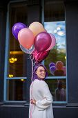 Young Lady With Purple Hair In Pink Spectacles White Blouse, White Blouse, Standing Turn Her Right O poster