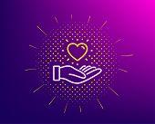 Hold Heart Line Icon. Halftone Pattern. Friends Love Sign. Brand Ambassador Hand Symbol. Gradient Ba poster