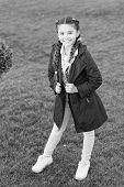Fashionable Coat. Girl Cute Face Braided Hair Posing Coat In Spring Park. Clothing For Spring Walks. poster