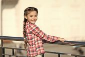 Fashionable Clothes That Make You Feel Relaxed. Happy Small Girl Wearing Fashionable Plaid Shirt. Fa poster