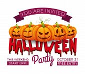 Halloween Banner. 31 October Party Invitation Vector Template. Halloween Pumpkins With Funny And Sca poster